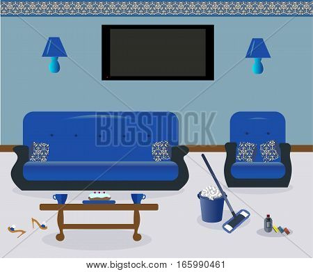 Cleaning in the living room. A coffee table.Lamps on the wall. A sofa and an armchair witn colored decorative pillows. Сarpet. Sexy cute slippers with high heels. Flat screen TV.Vector illustration.