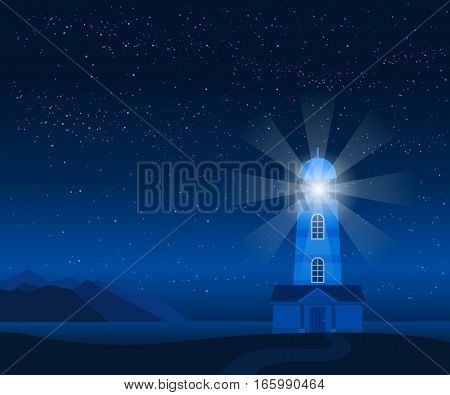Stock vector illustration of nature backdrop of mountains and sea landscape with silhouette of lighthouse at night on background of starry sky for brochures, banner, website, printed materials, cards