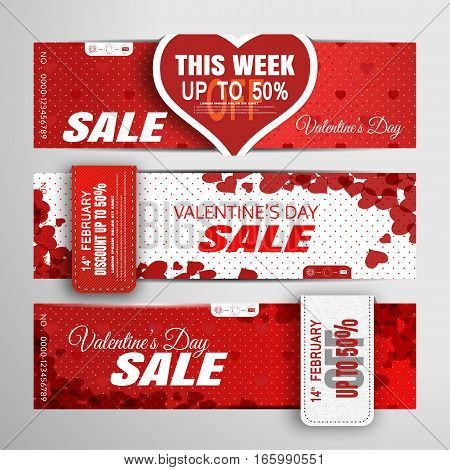 Vector Valentine's Day sale banners on the red and white background with hearts stripes shadows and heart pattern.