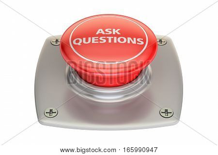 Ask Question red button 3D rendering isolated on white background