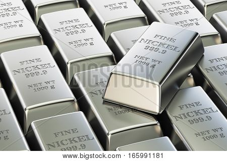 nickel ingots background 3D rendering isolated on white background