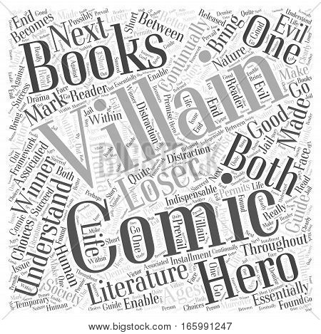 Heroes and villains in comic books Word Cloud Concept