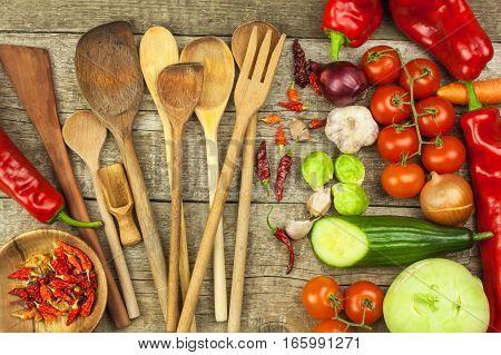 Fresh Vegetables On An Old Wooden Table. Preparing Vegetarian Food. Diet Food. Sales Of Vegetables.