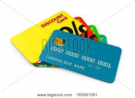 3D Illustration Of Discount Cards Template For Business
