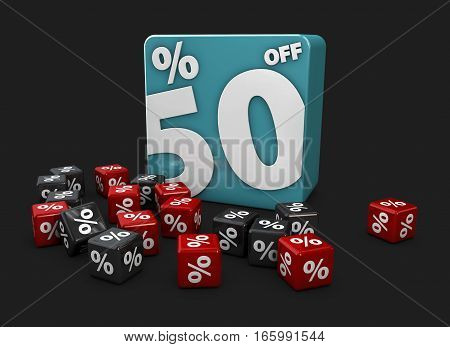 Blue Cubes With Percents On A Black Background. 3D Illustration For Discounts And Sales.