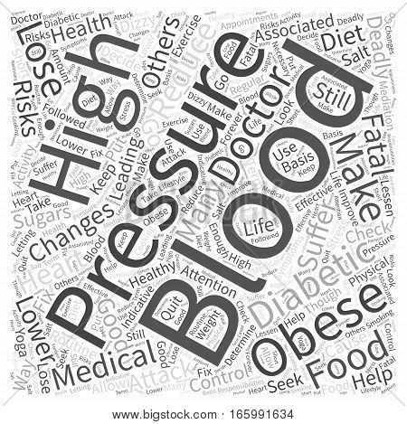 High Blood Pressure in Obese Diabetics Word Cloud Concept