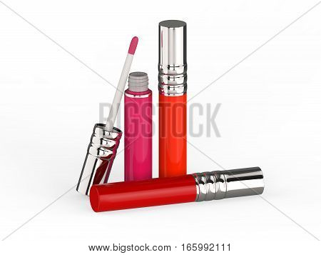 3D illustration three red lip gloss on a white background