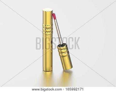 3D illustration gold lip gloss on a gray background