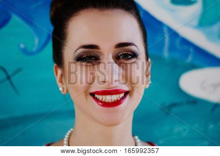 Close Up Portrait Of Bright Make Up Cheerful Girl Face.