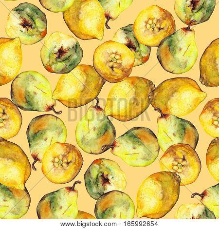 Watercolor  citrus pear fruit seamless pattern texture