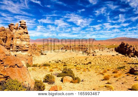Valley of the Rocks near Uyuni Bolivia with a beautiful dramatic sky
