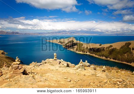 Peninsula on the Island of the Sun on Lake Titicaca in Bolivia
