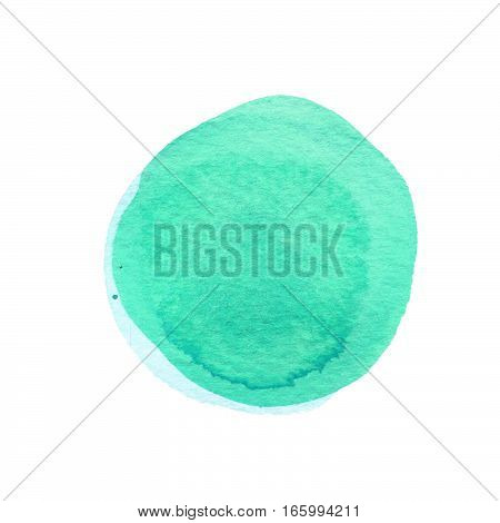Mint green watercolor circle isolated on white. Abstract round background. Watercolour stains texture. Space for your own text. Round background. Hand drawn texture. Rough artistic edges.