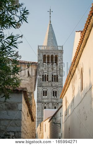 Rab Croatia - August 5 2015: Old Town of Rab Croatian island famous for its four bell towers and sandy beaches.