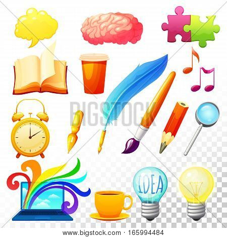 Creative process icons set of different elements exercies and occupations useful for human brain development isolated vector illustration