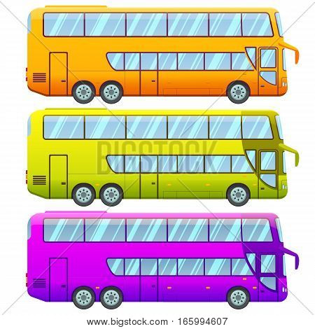Touristic double decker sightseeing bus collection in different colors on white background isolated vector illustration