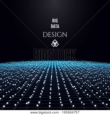 Particles flowing in the cyber space. Big data futuristic concept design. Vector illustration.