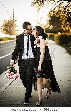 Romantic Couple Girlfriend And Boyfriend Having Fun Summer Park