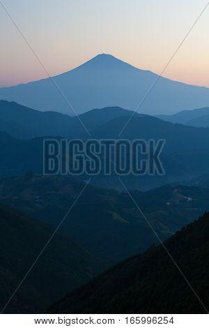 Mt.Fuji in summer sunrise seen from Mt. Takayama Yoshiwara Shizuoka prefecture.