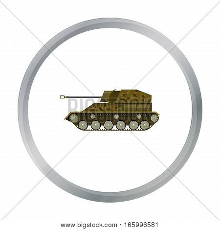 Military tank icon in cartoon style isolated on white background. Military and army symbol vector illustration - stock vector