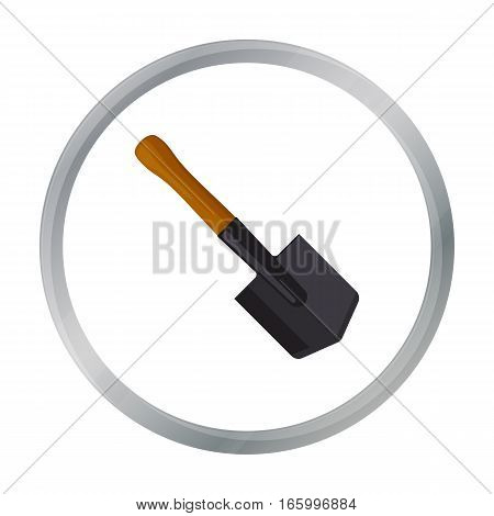 Military entrenching tool icon in cartoon style isolated on white background. Military and army symbol vector illustration - stock vector