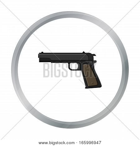 Military handgun icon in cartoon style isolated on white background. Military and army symbol vector illustration - stock vector