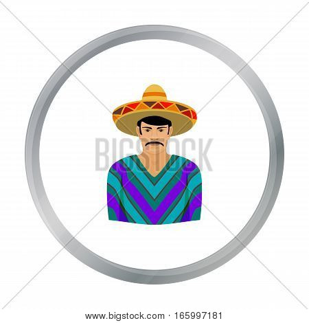 Mexican man in sombrero and poncho icon in cartoon style isolated on white background. Mexico country symbol vector illustration. - stock vector