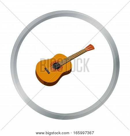 Mexican acoustic guitar icon in cartoon style isolated on white background. Mexico country symbol vector illustration. - stock vector