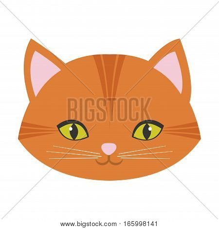 cute cat face pink nose mustache vector illustration eps 10