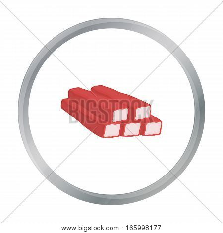 Crab sticks icon in cartoon style isolated on white background. Meats symbol vector illustration - stock vector