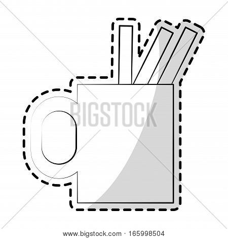 cup with pencils and pens over white background. vector illustration