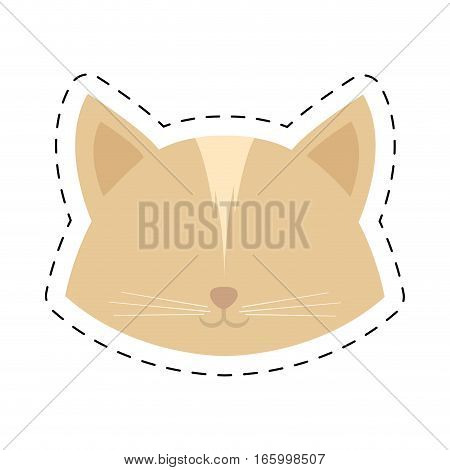 face cat female head line dotted vector illustration eps 10