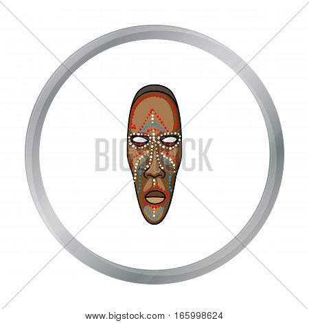 African mask icon in cartoon style isolated on white background. Museum symbol vector illustration. - stock vector