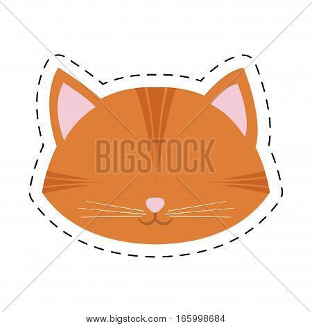orange cat face pink nose mustache line dotted vector illustration eps 10