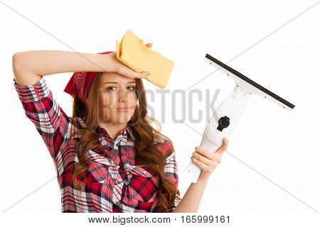 Tired Young Woman Cleaning Windows In Checkered Shirt Isolated Over White