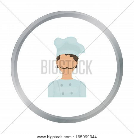Chef icon in cartoon style isolated on white background. Pizza and pizzeria symbol vector illustration. - stock vector
