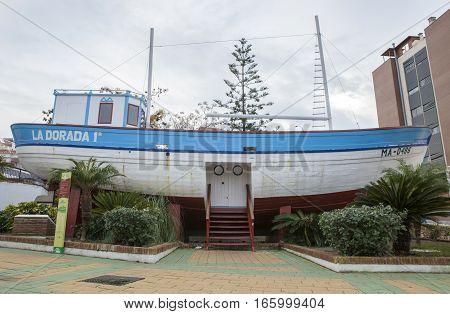 Nerja Spain - December 5 2016: Famous fishing boat of La Dorada Nerja Spain. This boat belonged to the famous TV Film Verano Azul