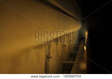 Abstract shot of a slit between object and wall