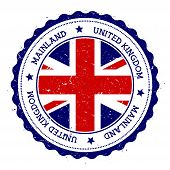 Mainland flag badge. Vintage travel stamp with circular text stars and island flag inside it. Vector illustration. poster