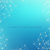 Geometric graphic background molecule and communication. Big data complex with compounds. Perspective backdrop. Minimal array Big data. Digital data visualization. Scientific vector illustration poster
