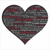 Word cloud. Phrase I love you in many languages in the shape of heart. Vector illustration on black.Can be used for greeting cards posters and t shirt design. poster