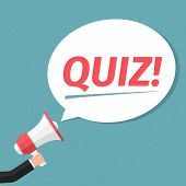 Hand with megaphone and speech bubble with word Quiz vector eps10 illustration poster