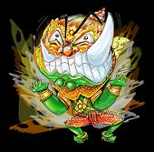 Thai Giant Cartoon acting pressure frantic bulge and power boom graphic Character design and freehand pencil sketch background isolate white background. poster