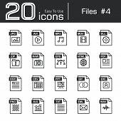 Files icon set 4 ( jpg avi mp3 mov dll zip raw eps html pdf doc csv ppt gif exe png xls txt eml wav ) poster