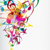 Abstract musical background with bright flying up notes and other musical signs. poster