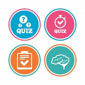 Quiz icons. Human brain think. Checklist and stopwatch timer symbol. Survey poll or questionnaire feedback form sign. Colored circle buttons. Vector poster