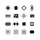 Computer electronic chips, motherboard, hardware processor vector. Set of computer processor icons, illustration of chip processor poster