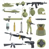 Professional Army Infantry Forces Weapons, Transportation And Soldier Equipment Set Of Realistic Objects In Khaki Color. Military Ammunition, Armor, Guns And Other Inventory For Modern Assault. poster