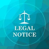 Legal notice icon. Legal notice website button on blue low poly background. poster