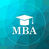 MBA icon. MBA website button on blue low poly background. poster